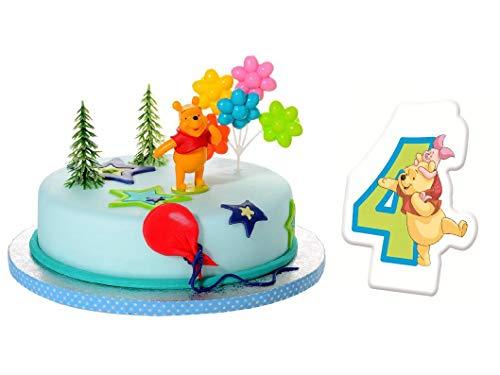 Torten Deko Set 4.Geburtstag Winnie Pooh 5 teilig Kindergeburtstag Torten Kerze Kuchendeko Tortenfigur Tortendeko