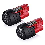 Powerextra 2 Pack 12V 2500mAh Lithium-ion Replacement Battery Compatible with Milwaukee M12 48-11-2411 48-11-2420 48-11-2401 48-11-2402 48-11-2401 12-Volt M12 Cordless Tools