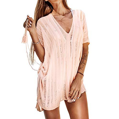 XKMY Ropa de playa para mujer con borlas de ganchillo rosadas para cubrir sexy con cuello en V y corbata lateral para mujer 2021, vestido de playa (color: FC10151F, tamaño: talla única)