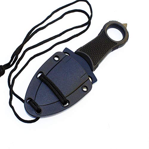 Tactical Black Full Tang Neck Knife iCareYou Xtreme Survival Fixed Blade Military Dagger with Sheath