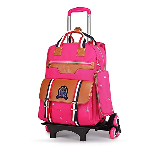 PROTAURI Kinder Trolley Rucksack, Schultrolley Schulrucksack für Jungen Mädchen, Wasserdichter Nylonrucksack, Pink