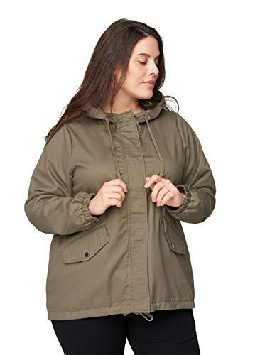 Zizzi Große Größen Damen Kurze Jacke mit Taschen und Kapuze Gr 54-56 Grau