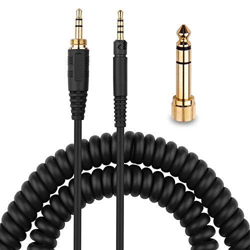 HD598 Cable Coiled Aux Cord Replacement for Sennheiser HD598 Cs HD599 HD569 HD579 HD558 HD518 Headphone Audio Cable with 6.35mm Adapter 4 to 12ft Long