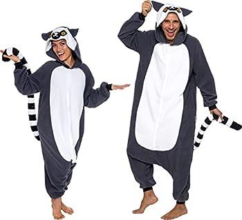 Silver Lilly Unisex Adult Pajamas - Plush One Piece Cosplay Lemur Animal Costume  Gray/White Large