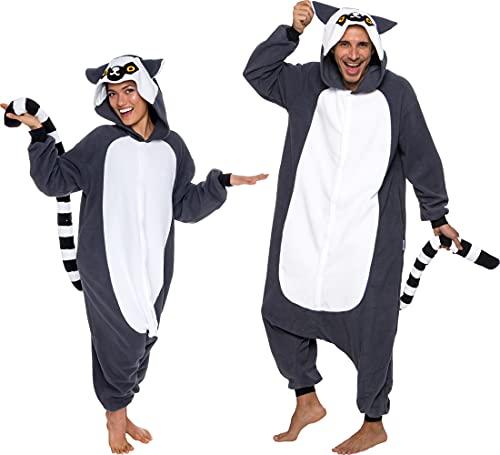 Silver Lilly Unisex Adult Pajamas - Plush One Piece Cosplay Lemur Animal Costume (Gray/White, Medium)