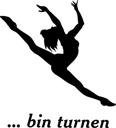 Wandtattoo: '… bin turnen' – Sport, Bodenturnen, Turner, Bewegung //Farb- und Größenwahl, Wandaufkleber (Weiß - 500 mm x 450 mm)
