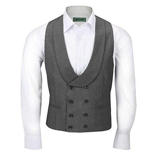 Xposed Herren Vintage Doppelreiher Schal Reversweste Tailored Fit Smart Wedding Dress Tux Vest Gr. Brust 48, grau