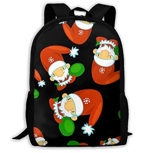 Hangdachang Cute Santa Clauses School Backpack Bookbag Casual Travel Bag for Teenagers Boys Girls