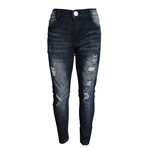 GUBA® Mädchen Skinny Jeans Denim zerrissen Stretch Jeggings Designer Hose Fashion Hose Gr. 9-10 Jahre, Jeansschwarz