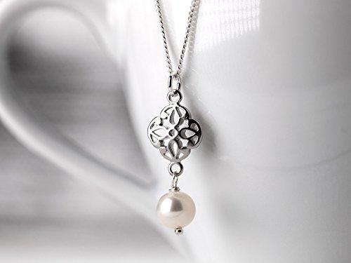 Perlenkette Silber, orientalisches Filigran-Element und Süßwasserperle, Braut-Schmuck, Geschenk für Sie, 925 Sterling