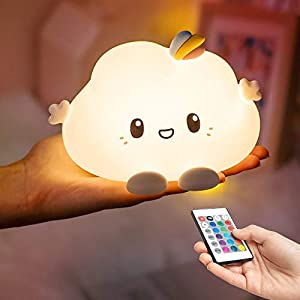 Night Light for Kids, Cute Cloud Nursery Timer Lamp, Gifts for Children Teen Girls Baby Toddler, Led Silicone Color Changing Squishy Glow Soft Portable Touch Control Rechargeable Nightlight Bedroom