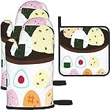 Rice Ball Sushi Cartoon Niedliche Ofenhandschuhe und Topflappen 1192 Stück Set Küchenofen...