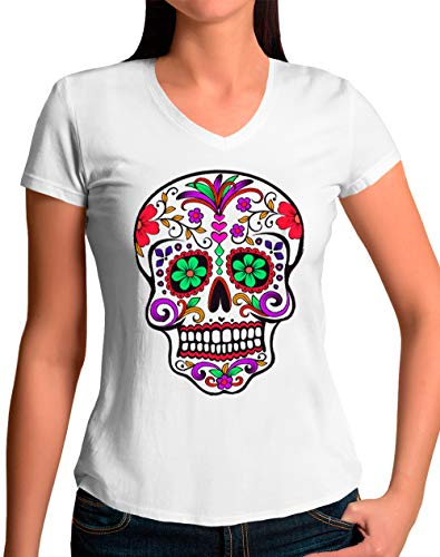 Camiseta Calavera Mexicana de Mujer - Flores (Blanco, M)