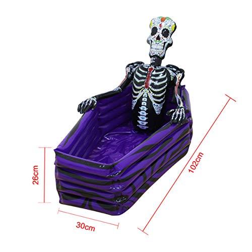 XWQXX Aufblasbare Sarg-Eiskübel-Halloween-Bar liefert aufblasbare Knochen-Schatztruhe-Getränk,Purple-OneSize