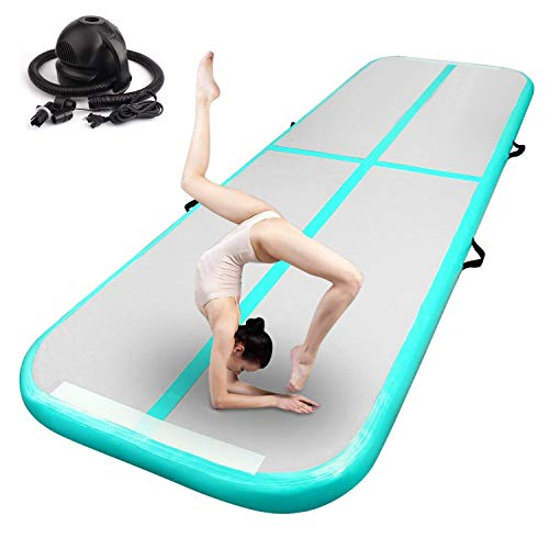 FBSPORT Inflatable Gymnastics Air Mat Track Floor Mat 4/8 inches Thickness Gym Mats for Home Use/Training/Cheerleading/Yoga/Water with Pump