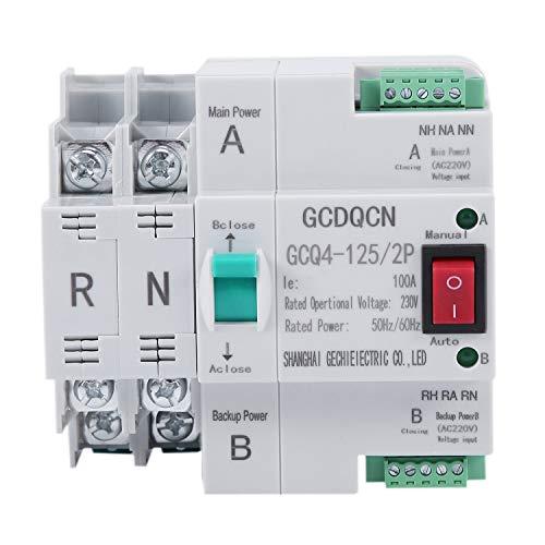 SNOWINSPRING Dual-Power Automatic Transfer Switch 2P 100A 35 Mm Schienen Installation für Den Haushalt