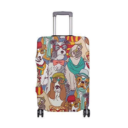 Funda para equipaje de viaje, con diseño de perros de dibujos animados y elásticos, para maleta de 18 a 32 pulgadas