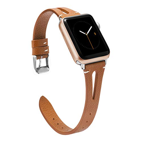 Wearlizer Brown Leather Compatible with Apple Watch Bands 42mm 44mm for iWatch Womens Mens Special Triangle Hole Sport Straps Wristband Cool Replacement Bracelet (Metal Silver Buckle) Series 5 4 3 2 1