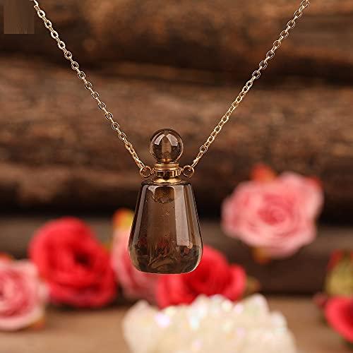 JIAQ Colgante de botella de perfume facetada con piedra natural, collar de oro, cristal de cuarzo difusor de aceite esencial frasco de dijes (color de metal: cuarzo ahumado)