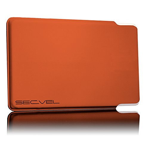 TÜV geprüfte und patentierte Schutzhülle 5-Fach Kartenschutz - Orange | RFID NFC Blocker | Magnetfeld Abschirmung | Störsender für Kreditkarte, EC Karte, Personalausweis | 100% Aktiv Schutz