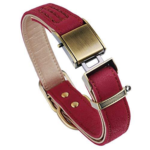 chede Klassisches Luxus-Hundehalsband aus Leder, mit Sicherheitsgurtschnalle, für große und mittelgroße Haustiere (XL, rot)
