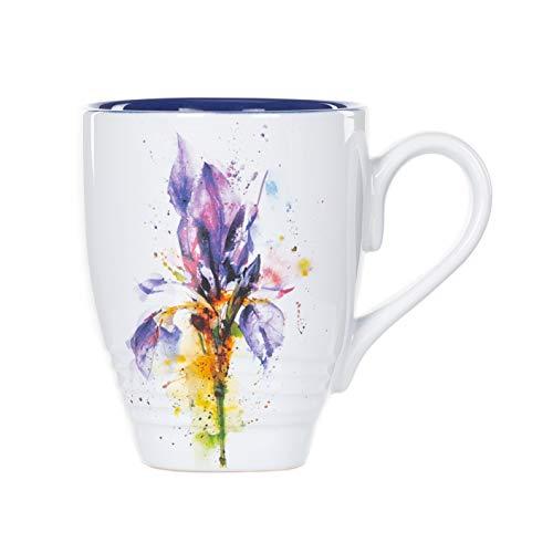 Iris Watercolor Purple On White 16 Ounce Glossy Stoneware Mug With Handle