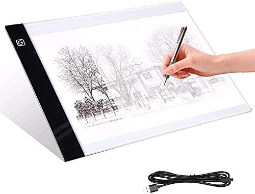 Mesa de luz LED Dibujo Tamaño A4 (33.5 * 23.5cm) Ligero Portátil Nivel de luz regulable, USB, Resolución Pantalla (1.920 x 1.080) Dibujo, calco, bocetos, animaciones 2D, tattoo, caligrafía (A3)