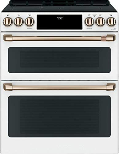 Cafe 30 Matte White Slide In Double Oven Induction Range product image