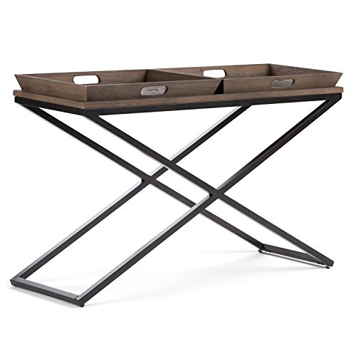 Simpli Home Damien SOLID WOOD and Metal 50 inch Wide Modern Industrial Console Sofa Entryway Table in Distressed Natural Elm    , for the Living Room, Entryway and Bedroom