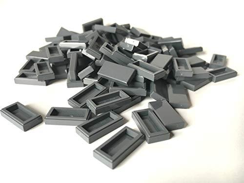 LEGO ® 100 Fliesen 1x2 in dunkel grau / Dark Bluish Gray