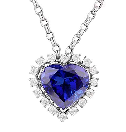 Dreamdge 18K White Gold Necklace Heart Long Necklaces for Women, 6.5ct Blue Tanzanite Pendant Necklace