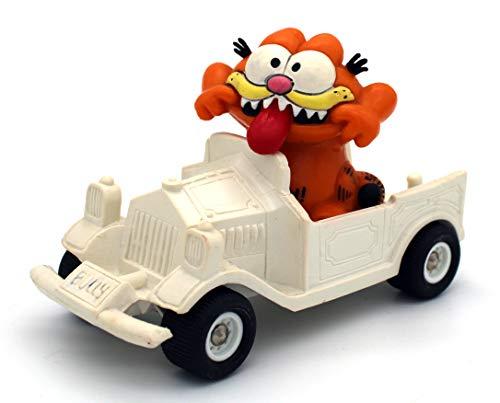 Garfield Kunststoff Figur in weißem Auto mit schwarzen Rädern von Bullyland