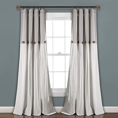 "Lush Decor, Gray/White Linen Button Window Curtain Single Panel, 84"" x 40"", 84""x 40"""