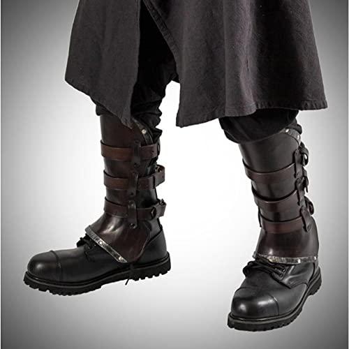 MKIU Retro-Leder-beinlinge, Mittelalterliches Steampunk-kostüm-zubehör Verstellbare Wikinger-Ritter-beinlinge Für LARP-männer-Frauen-Stiefel-schuhüberzug,Braun