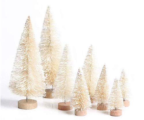 Mini Christmas Tree Pine Trees Tabletop Trees Snow Frost Trees with Wood Base Great for Christmas Crafting Home Party Decoration