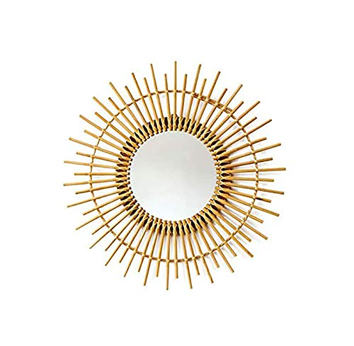 Gaojian Espejo de Mano de la Vendimia Pared del Arte Innovador Colgante de ratán Pared Espejo de Maquillaje nórdica decoración de la Pared Decorativa Casa montable