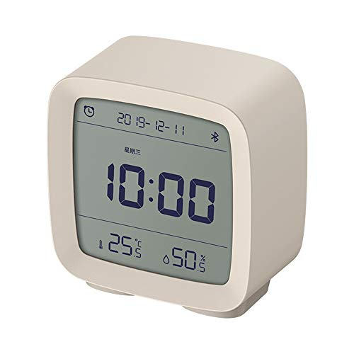 YBWEN wekker, app-besturing, bluetooth 5.0-thermometer-hygrometer, LCD-scherm, instelbare nachts, bureau-klok