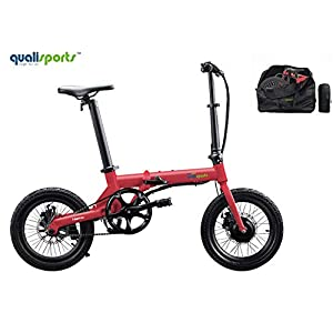 """Qualisports Nemo Folding Electric Bicycle 16"""" Ebike 7Ah Lithium-ion Battery, 36V/250W Hub Motor, Max Speed 16 MPH, 25+Miles, 4 Riding Modes Hybrid Bikes for Adults(Red)"""