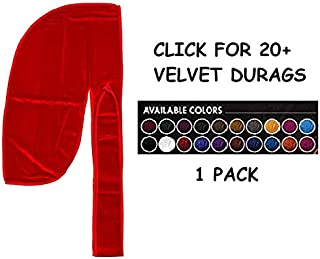 Premium Quality Long Tail Silky Velvet Durag 360/540 / 720 Wave Red Uncensored