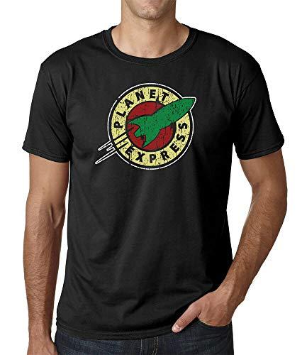 yunzuo Futurama Mens T-Shirt Planet Express Adults Shirt Black XL