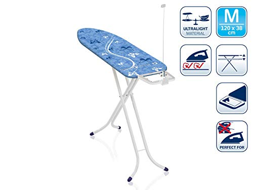 Leifheit AirBoard Compact M - Tabla de planchar de plástico, color azul/blanco, 120x38 cm