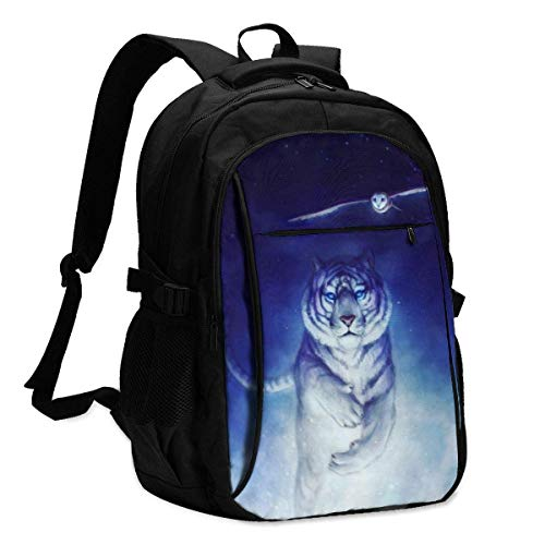 XCNGG Owl and Tiger Travel Laptop Mochila College School Bag Mochila Informal con Puerto de Carga USB