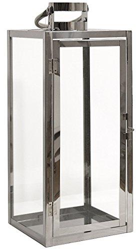 Dekovita 50cm Edelstahl-Laterne - Gartenlaterne mit Glas-Scheiben und Henkel - Windlicht Deko-Laterne aus Metall