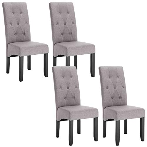 WOLTU Set of 4 x Dining Chairs Light Grey Kitchen Side Dining Chairs Upholstered Seat for Counter Lounge Living Room Corner Accent Chairs with Backrest & Soft Seat Wood Legs Reception Chairs Linen
