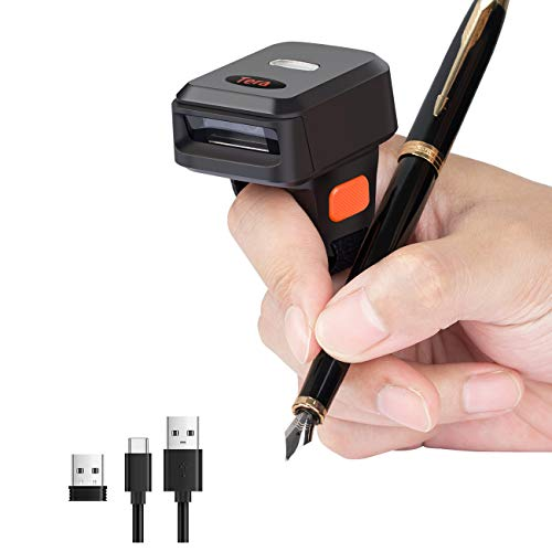Tera Barcode Scanner wireless bluetooth usb 2D 1D QR Mini Tragbar kabellos Handscanner Ringscanner 1 Million Hohe Auflösung, Bildschirm und Display scannen unterstützt, Deutsche Anleitung