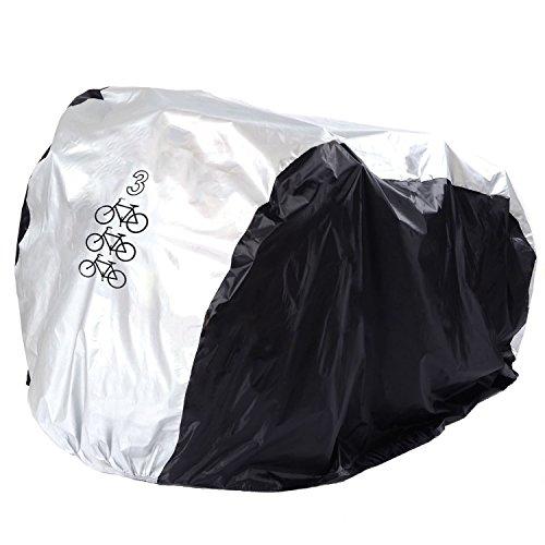 FunYoung Fahrradabdeckung Wasserdicht Polyester Fahrradschutzhülle Fahrradgarage Silbern Schwarz (200 * 105 * 110cm)