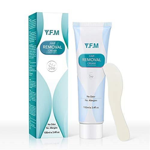 Y.F.M Unisex Haarentfernungscreme auf Unterarm/Brust/Rücken/Beine/Arm und Privater Bereich usw, Hair Removal Cream sanfte Formel für empfindliche Haut geeignet 100g, Geeignet für Männer und Frauen