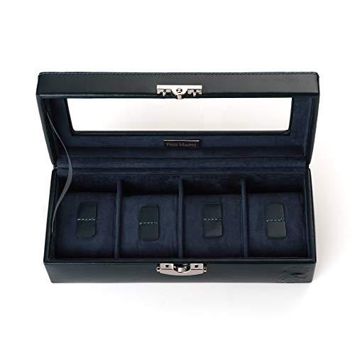 Real Madrid - Caja para Relojes con 4 Compartimentos Extraíbles, Hecho a Mano en Piel y con Tapa de Cristal. Color Azul RMJ-80001