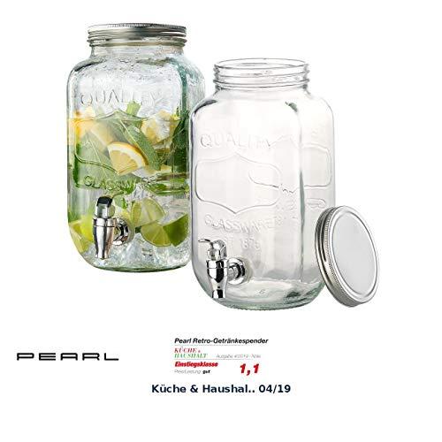 PEARL Wasserspender: 2er-Set Retro-Getränkespender aus Glas, Einmachglas-Look, Zapfhahn (Getränkespender Bar)