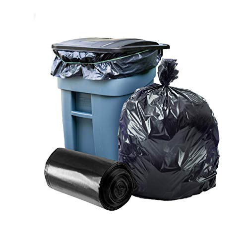 """Plasticplace Trash Bags │ 1.5 Mil │ Black Heavy Duty Garbage Can Liners │ 50"""" x 48"""", (100 Count)"""